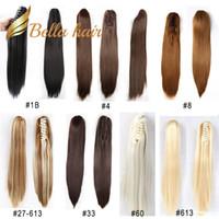 saç tokaları düz toptan satış-Pençe at kuyruğu saç uzatma Bella Hair® Remy Sentetik El yapımı Klip Düz 20inch Renk # 1B # 4 # 6 # 8 # 10 # 16 # 27 # 30 # 33 # 60 # 613 # 99J # 27/613