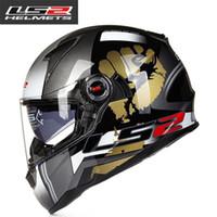 линзы для линз ls2 оптовых-LS2 FF396 стекловолокна шлем анфас мотоцикл шлем двойной объектив с подушкой безопасности велосипед шлемы ECE Capacete motoqueiro casque moto