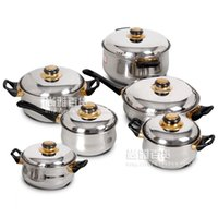 Wholesale applied tool - Cooking Tools 12 Pieces Of Stainless Steel Cookware Set Soup Pot Milk Pot Fry Pan Combination Set Induction Apply