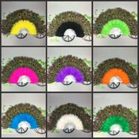 plumas de las fuentes del partido al por mayor-Elegante colorido 21 ventilador de plumas de pavo real de alto grado ventilador de la danza del vientre hermoso ventilador de plumas de Halloween suministros fiesta fantasma