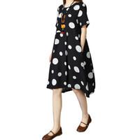 ingrosso abiti neri di polka dots-Moda donna abito in cotone a pois stampa tasca manica corta casual sciolto estate Midi Dress bianco / nero abiti da donna eleganti