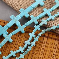 cruces de piedra para hacer joyas al por mayor-40cm azul turquesa cruzada piedra perlas sueltas cuentas espaciadoras para la fabricación de joyas de bricolaje 8x10 12x16 15x20 18x25 20x30 22x30 25x35mm