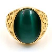 ingrosso anello verde-Vintage Men Boy Oval Big Cat's eye stone Green Black Stones Anello in acciaio inossidabile Gioielli Uomo Donna Anelli in oro all'ingrosso