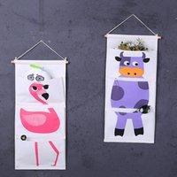 tiere gehangene wand großhandel-Tür Wandbehang Organizer Taschen Flamingo Tier Baumwolle Leinen Verschiedene Tasche 3 Taschen