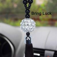 spiegelbehänge großhandel-Auto Rückspiegel hängenden Ornament Home Interior Decor Buddha Perlen Crystal Ball Glücksbringer Anhänger Behänge für Handtasche