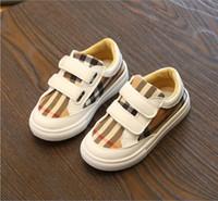 ingrosso neonata di scarpe fondo duro-2018 autunno nuovi ragazzi plaid stampato scarpe da ginnastica ragazze scivolare scarpe da corsa bambino bambino scarpe basse morbido traspirante