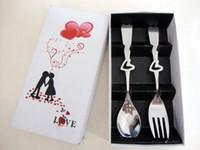 ingrosso set di forchetta a cucchiaio di cuore-New Fashion Bomboniere Regali a forma di cuore Cucchiaio forchetta in acciaio inox 2 pezzi in un unico set