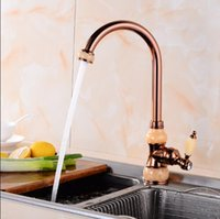 Wholesale polished gold faucets - Brass and Jade Kitchen faucet gold Copper water tap hot cold Sink faucet Vegetable washing basin sink mixer rotating