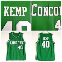 ingrosso jersey kemp-Mens Shawn Kemp # 40 Concord High School Basketball Jersey economici Vintage verde Shawn Kemp cucita magliette da basket