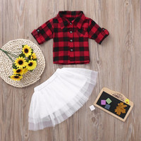 ingrosso pannello esterno lungo rosso plaid-Infant rosso nero Plaid Top Tutu gonne in pizzo Natale autunno manica lunga camicetta Baby Girls Outfits 2pcs / set