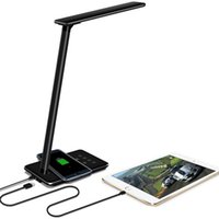 Wholesale black modern table lamps for sale - Group buy LED Desk Lights Table lamps Folding Eye friendly Light Color Temperature Book Light with Wireless Desktop USB charge black and white