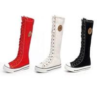 schnüren sich die kniestrümpfe großhandel-SZSGCN516-NEW-Free Versand Heißer Verkauf Damen Mädchen Leinwand Stiefel Frauen Punk EMO Kniehohe Turnschuhe Mode Kausalen Schuhe Gothic lace-up Stiefel