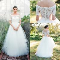 Wholesale vintage floral corset - 2018 Off Shoulders A-line Wedding Dresses Lace Elegant Short Sleeves Corset Button Back Corset Country Bridal Gowns