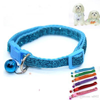 Wholesale white nylon dog collar online - Dog Collars Articles Small Horse Bell Sequins Pet Supplies Portable Protection Kitty Neck Ring Pure Color bl bb