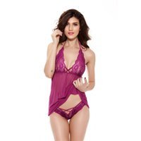 Wholesale lingerie sexy nuisette - 2017 Nightgown Night gowns Women's Sexy Lace sleepwear Night Dress String Set Female Lingerie Sleepshirt nuisette femme S-3XL