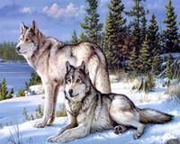 harz wolf großhandel-5d diy diamant malerei kreuzstich schnee wolf malerei voller harz platz diamanten stickerei wohnkultur