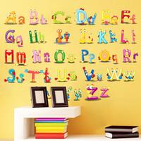 modern duvar harfleri toptan satış-Çocuk Odası Duvar Sticker Alfabe Karikatür Komik İngilizce Harfler Yatak Odası Dekor Bebek Faydalı Bilgelik Çalışma Duvar Kağıdı 3aw bb