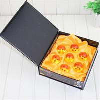 Wholesale dragonball z pvc - 7pcs lot 3.5cm Dragon Ball Z Crystal Ball DragonBall 7 Stars Crystal Balls Orange Black Blue Stars Complete set
