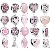 розовые браслеты оптовых-S925 Бисер Стерлингового Серебра Pandora Стиль Браслет Шарм Бисер Любовь Розовый Кристалл DIY Бусы Для Браслетов Роскошные Дизайнерские украшения