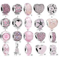 Wholesale circle designer glasses for sale - Group buy S925 Sterling Silver Beads Pandora Style Charm Beads Bracelet Love Pink Crystal DIY Beads For Bracelets Luxury Designer jewelry