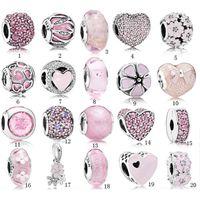 ingrosso cristalli rosa-S925 Sterling Silver Beads Pandora Style Charm Branelli Braccialetto amore rosa cristallo fai-da-te per i braccialetti di lusso gioielli di design