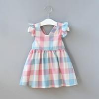 3d26b16b36e1 INS Pretty Girls stripe Dress Lovely Lattice short Sleeve Flower Kids Dress  Baby Girl Clothes Princess Dresses Kids Clothing LC859