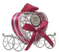 Wholesale carriage shaped candy resale online - fashion Europe iron carriage candy box heart shaped hollow candy box wedding candy box colors wen5771