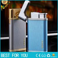 бренд мужчины светлее оптовых-Тигр бренд 876 Light Fashion Lighter Синий Огненный Факел Зажигалка Металл Газовая Зажигалка С Подарочной Коробке Для Человека 876