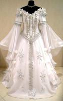 trajes góticos venda por atacado-Vestido de casamento medieval bruxa CELTA Renascentista tudor traje gótico vitoriano lotr larp handfasting wicca narnia pagão vestido de casamento