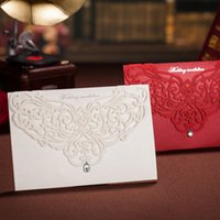 Wholesale card wedding invitations red online - Personality Red Greeting Cards With Drills Crystal Hollow Creative Flower Laser Cut Wedding Invitations Portable Removable Exquisite wsa jj