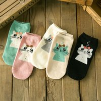 Wholesale Black Cat Slippers - Wholesale-Spring Summer Women's Casual Cute Cat Pattern Print Cotton Short Sock Slippers 5 Colors ZDL022