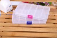 ingrosso scompartimenti contenitori-Contenitore di immagazzinaggio di plastica chiaro della scatola di immagazzinaggio di 15 piccoli contenitori per il contenitore dei giocattoli degli orecchini dei gioielli Trasporto libero