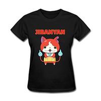 ingrosso orologio kai-Stampa Tee Shirts Design O-Collo Manica corta Yo Kai Guarda Jibanyan Magliette per le donne