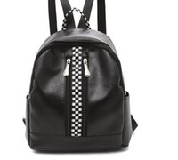 morral del engranaje ocasional al por mayor-Racing Check Womens Faux Leather Mochila Ligero Mochila escolar Casual Zipper Daypack Negro Blanco Racewear Gear