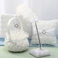 saten düğün sepeti toptan satış-Yeni Tasarım Düğün Dekorasyon Saten çuval bezi ilmek Gül Çiçek Sepeti Çiçek Kız Basket Düğün Parti Malzemeleri