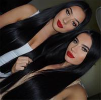 remy insan ipek düz saç toptan satış-Ipek Tabanı Brezilyalı Düz Yaki Tam Dantel Ön İnsan Saç Peruk Doğal Renk Ipek Üst Remy İnsan Saç Dantel Ön Peruk
