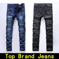 Wholesale Black Hole Size - Mens jeans Distressed Robin Motorcycle biker jeans Rock revival Skinny Slim Ripped hole Men's Famous Brand Denim pants Men Designer jeans