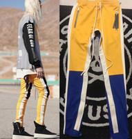 Wholesale Plaid Flannel Pants - 2018 NEW justin bieber Yellow blue red white stripes splice men pants hip hop Fashion Fear of God Fog pocket Side zipper jogger pants 3Color