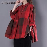 Wholesale plaid blouse batwing - CHICEVER Vintage Pleated Women's Shirt Blouses Top Pullovers Batwing Sleeve Plaid Loose Women Shirt Top Pullovers Clothes
