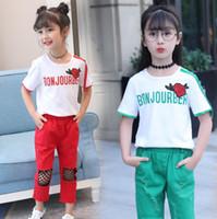 Wholesale boys leopard shirts - New Girl Clothes Set Summer Rose Flower T-shirt+Patched Pants 2 Pieces Clothes Suit Boys Girl Cotton Suit 4 s l