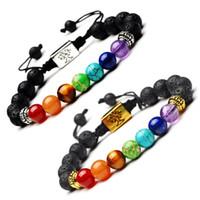 pulsera arbol vida al por mayor-Yoga hecho a mano 7 Chakra árbol de la vida pulseras del encanto piedras de lava bolas multicolor cuerda pulsera mujeres hombres pulseras brazaletes