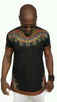 t-shirt blumen kurzarm großhandel-Mode Sommer Floral Gedruckt Afrika O Neck T-shirt Männer Casual Kurzarm Shirt Top Tees Größe S-2XL