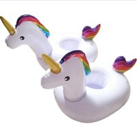 Wholesale Animal Pool Floats - Unicorn Inflatable Swim Floats Drink Cup Holder Summer Pool Party Beverage Beach Key Wallet CellPhone Holder Swimming Supply