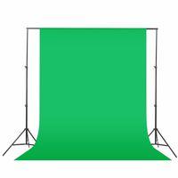 cenários venda por atacado-Preto Verde Branco 1.6x3m / 2mx3m Fotografia fundo Sistema de Fundo SUPORTE Kit não tecido Fotografia Tela fundo fotográfico