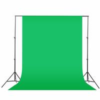 gewebte kulissen großhandel-Schwarzes Grün-Weiß 1.6x3m / 2mx3m Fotografie-Hintergrund-Hintergrund-Stützsystem-Stand-Installationssatz Vlies-Fotografie-Schirm-fotografischer Hintergrund