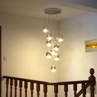 merdiven kolye lambası toptan satış-10 Led lambalar Merdiven Altın Uzun Sarkıt Oturma Odası Yemek Odası Modern asılı ışık Villa Cam Sihirli Top kolye ışıkları