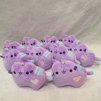 Wholesale Mobile Ornaments - Super Soft Stuffed Plush Doll Easy To Carry Pusheen Pendant Purple Mini Cat Shaped Mobile Phone Ornament Portable 5px B