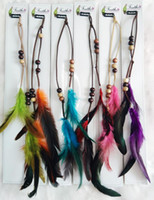 sombreros bohemios al por mayor-Perlas de moda de cuero clip de pelo natural de la pluma Extensiones de pelo tocado de la boda headwear accesorios para el cabello plumas bohemio envío gratis