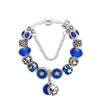 logotipos de estrela azul venda por atacado-Blue Star Moon Pingente Pulseira 925 Charme Prata Europeu Beads para As Mulheres Bangle com logotipo Melhor Presente de Jóias por atacado