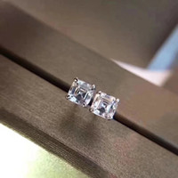 Wholesale Diamond Jewelery - 2018 Luxury quality Famous Brand S925 Silver Stud with Square dimond Fashion brand Earrings jewelery for women wedding gifts BV PS6643